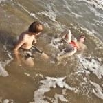 Boys enjoying the beautiful ocean and beach — Stock Photo #5780377