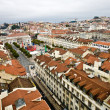 "View from the ""Elevador de Santa Justa"" to the old part of Lisbon - Stock Photo"
