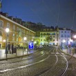 Lisbon at night, streets and old houses of the historic quarter in Lisbon — Stockfoto