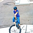Boy on his bike at the skate park — Stock Photo #5797701