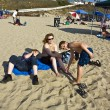 Family enjoys the beautiful beach at Redondo beach, California, Los Angeles — Stock Photo #5799462