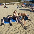 Family enjoys the beautiful beach at Redondo beach, California, Los Angeles — Stock Photo