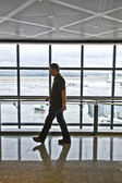 Man waiting at the departure hall — Stock Photo