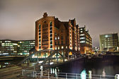 Speicherstadt at night in Hamburg — Stockfoto
