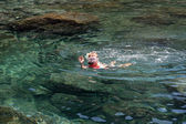 Snorkeling in a natural basin in Lanzarote — Photo