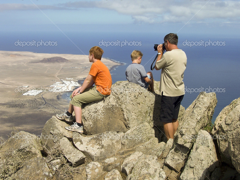 Father takes pictures from Balcon de Femes with his children in beautiful view  Stock Photo #5796987