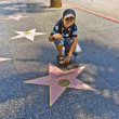 Постер, плакат: Boy at the Walk of Fame sitting at the star for The simpsons