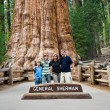 Family is posing in Sequoia national Park with old huge Sequoia — Stock Photo