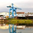 Dockyard on river main — Stock Photo
