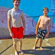 Brothers having fun at the pool — Stock Photo #5804280