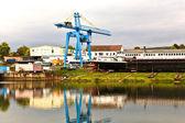 Dockyard on river main — Stock Photo