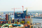 Cityscape of Hamburg from the famous tower Michaelis — Stock Photo