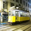 Lisbon at night, famous tram, historic streetcar is running — Stock Photo #5811049