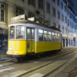 Lisbon at night, famous tram, historic streetcar is running — Stock Photo #5811061