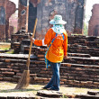 Workers in temple area Wat Phra Si Sanphet, Royal Palace in Ajut - Stock Photo
