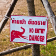 Sign no entry because of elephant trail — Stock Photo