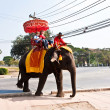 Tourists on an elefant ride  in Ajutthaja — 图库照片