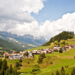 Village,meadows and mountains in the alps - Foto de Stock