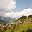 Village,meadows and mountains in the alps — Stock Photo