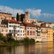 View of the romantic village Basano del Grappa over the river Br - Stock Photo