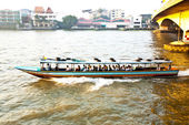 Transportation on the river in Bangkok in sunrise in a ferry — Stock Photo