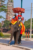 Tourists on an elefant ride in Ajutthaja — Stock Photo