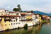 View over river Brenta in old village Basano del Grappa in Italy — Stock Photo