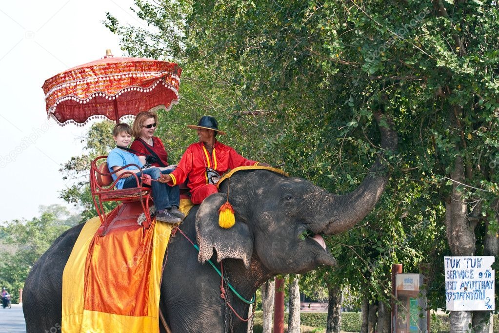 Tourists on an elefant ride  in Ajutthaja — Stock Photo #5815513