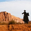 Cowboy on a Horse Silhouette in the Monument Valley — Stock Photo