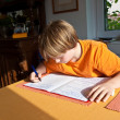 Boy doing homework for school at home — Stock Photo #5827113