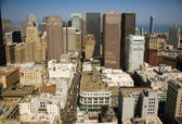Skyline of San Francisco seen from a sky scraper with blue sky — Stock Photo