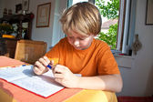 Boy doing homework for school at home — Stock Photo