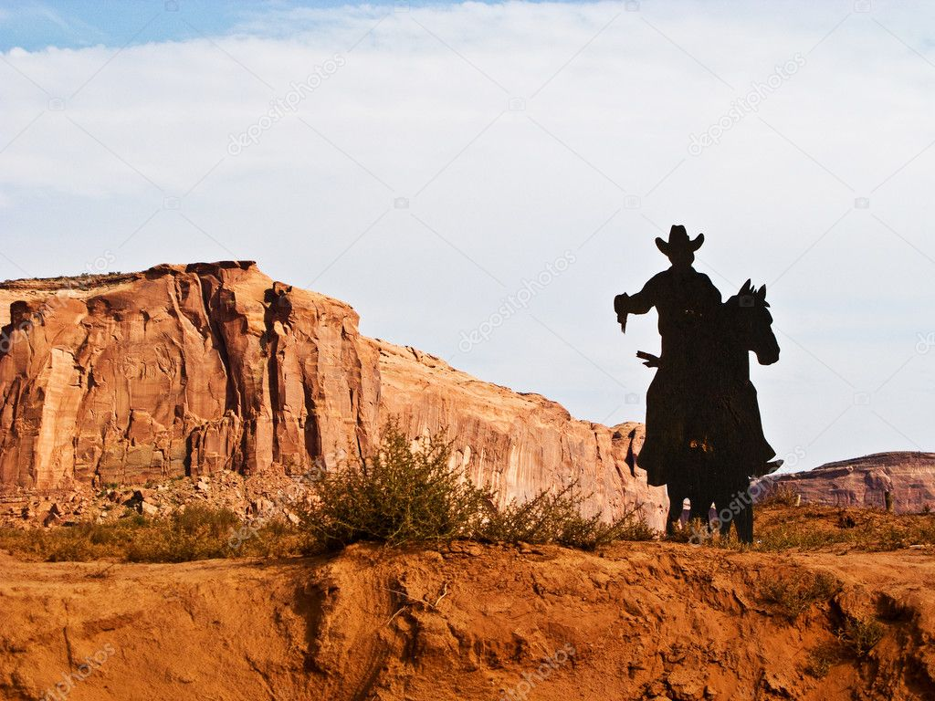 Cowboy on a Horse Silhouette in the Monument Valley — Stock Photo #5826110