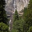 Upper and lower Yosemite falls with a powerful spring water flow — Stock Photo