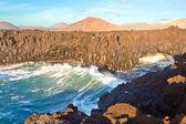 Los Hervideros, coastline with huge waves — Stock Photo
