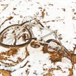 Littered and rusty bicycle as trash on snow - Stockfoto