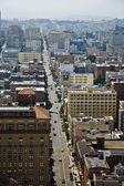 Skyline and streets with traffic of San Francisco seen from a s — Stock Photo