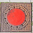 A manhole cover in the street to enter the canalisation — Stock Photo #5939496