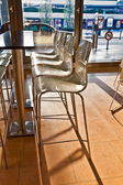 Bar chair in early morning light at the Airport in hamburg — Stockfoto