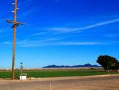 Torre elettrico con campi verdi e stradale a yuma — Foto Stock