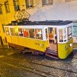 Lisbon at night, famous tram, historic streetcar is running — Stock Photo #5995045