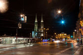 Vienna, Swedenplace at night with traffic lights with view to th — Stock Photo