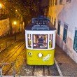 Lisbon at night, famous tram, historic streetcar is running - Foto Stock