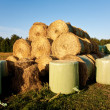 Royalty-Free Stock Photo: Bale of straw infold in plastic film (foil) to keep dry in autom