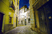 Lisbon at night, streets and old houses of the historic quarter in Lisbon — Stock Photo