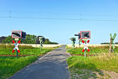 Railway crossing in nature — Stock Photo