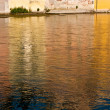 Stock Photo: Colorful mirroring in river Brentat romatntic village