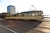 Historic streetcar, trolley at the Friedensbruecke in Frankfurt — Stock Photo