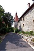 Oude middeleeuwse stadsmuur in marktbreit — Stockfoto