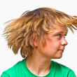 Portrait of cute smiling boy with green shirt — Stock Photo